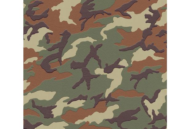 AS Création Vliestapete Boys & Girls 6 Tapete mit Camouflage Muster braun grün 10,05 m x 0,53 m