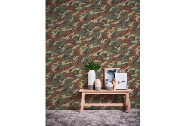 AS Création Vliestapete Boys & Girls 6 Tapete mit Camouflage Muster braun grün 10,05 m x 0,53 m