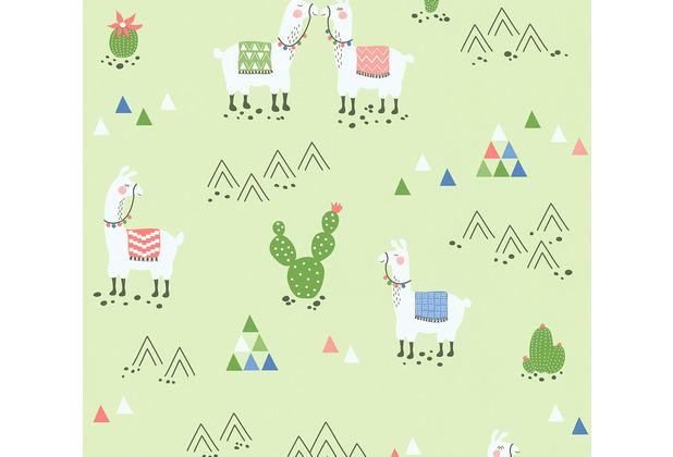 AS Création Vliestapete Boys & Girls 6 Tapete mit Lamas grün 10,05 m x 0,53 m