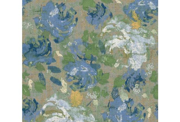AS Création Vliestapete Character Tapete mit Rosen floral blau grau grün 367727 10,05 m x 0,53 m