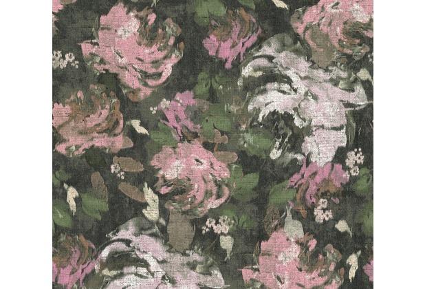 AS Création Vliestapete Character Tapete mit Rosen floral grau grün rosa 367726 10,05 m x 0,53 m