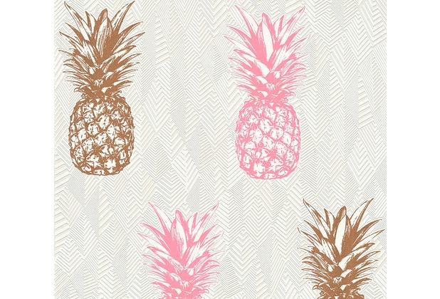 AS Création Vliestapete Club Tropicana Tapete Ananas weiß rosa braun 359973 10,05 m x 0,53 m
