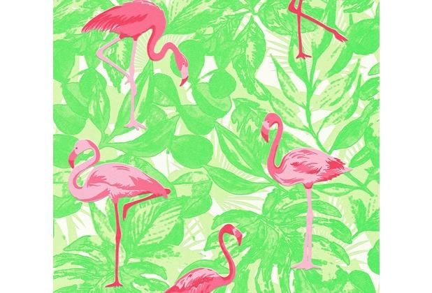 AS Création Vliestapete Club Tropicana Tapete Flamingos grün rosa rot 359802 10,05 m x 0,53 m