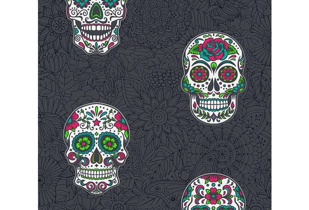 AS Création Vliestapete Club Tropicana Tapete Sugar Skulls bunt metallic schwarz 358173 10,05 m x 0,53 m