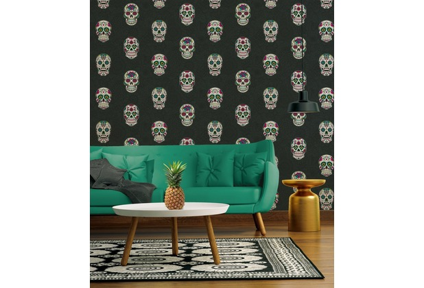 AS Création Vliestapete Club Tropicana Tapete Sugar Skulls bunt metallic schwarz 10,05 m x 0,53 m