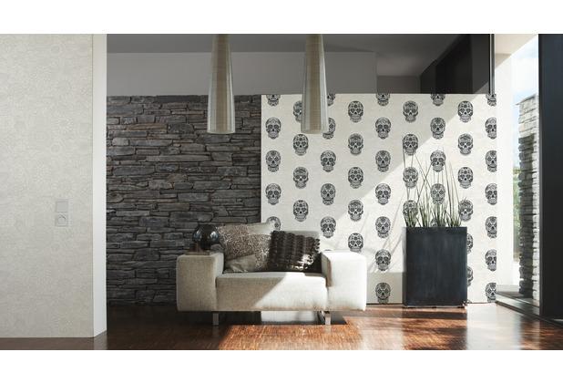 AS Création Vliestapete Club Tropicana Tapete Sugar Skulls metallic schwarz weiß 358171 10,05 m x 0,53 m