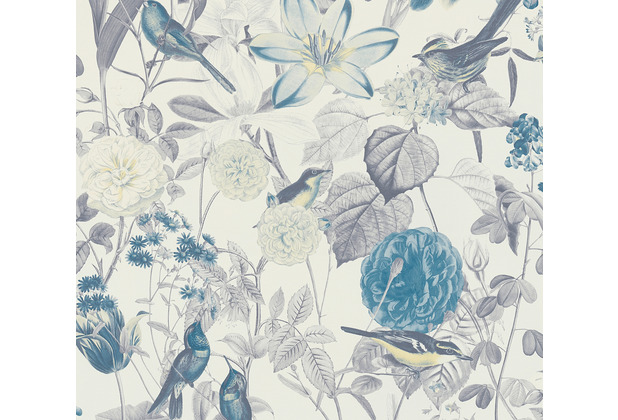 AS Création Vliestapete Exotic Life Tapete tropisch floral natürlich blau gelb grau 372763 10,05 m x 0,53 m