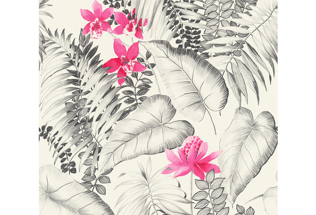 AS Création Vliestapete Exotic Life Tapete tropisch floral natürlich grau rosa schwarz 372791 10,05 m x 0,53 m