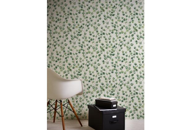 AS Création Vliestapete Greenery Tapete mit Blätter Motiv grün weiß 370441 10,05 m x 0,53 m