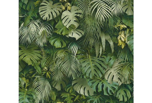 AS Création Vliestapete Greenery Tapete mit Palmenprint in Dschungel Optik grün 372802 10,05 m x 0,53 m