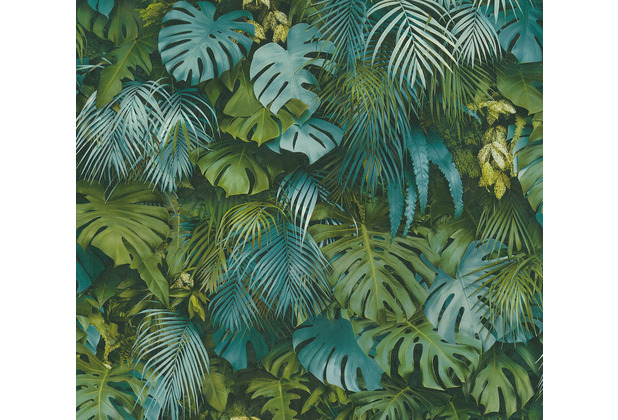 AS Création Vliestapete Greenery Tapete mit Palmenprint in Dschungel Optik grün blau 372803 10,05 m x 0,53 m