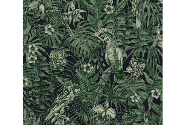 AS Création Vliestapete Greenery Tapete mit Palmenprint in Dschungel Optik grün schwarz 372101 10,05 m x 0,53 m