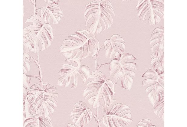 AS Création Vliestapete Greenery Tapete mit Palmenprint in Dschungel Optik rosa weiß 372811 10,05 m x 0,53 m