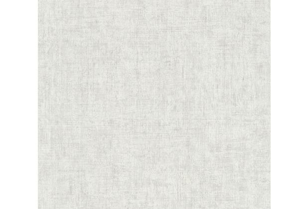 AS Création Vliestapete Greenery Tapete Uni in Vintage Optik grau weiß 373341 10,05 m x 0,53 m