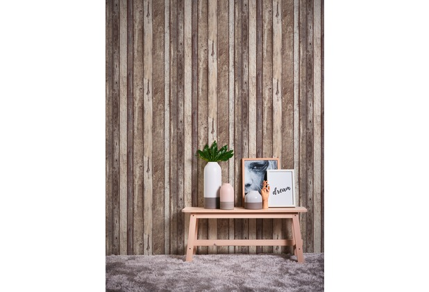 AS Création Vliestapete Il Decoro Tapete in Vintage Holz Optik beige braun grau 10,05 m x 0,53 m