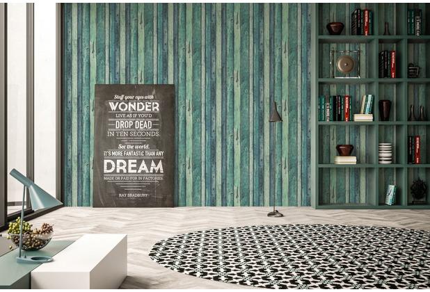 AS Création Vliestapete Il Decoro Tapete in Vintage Holz Optik blau grün 10,05 m x 0,53 m