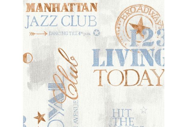 AS Création Vliestapete Il Decoro Tapete New York City beige blau weiß 368121 10,05 m x 0,53 m