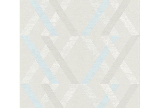 AS Création Vliestapete Linen Style Tapete geometrisch grafisch beige blau grau 367593 10,05 m x 0,53 m