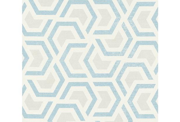 AS Création Vliestapete Linen Style Tapete geometrisch grafisch beige blau grau 367603 10,05 m x 0,53 m