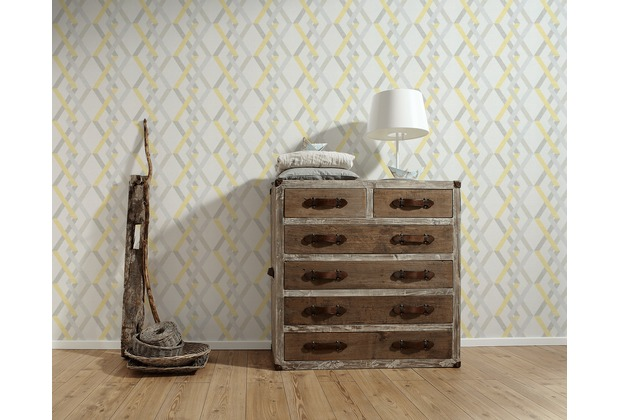 AS Création Vliestapete Linen Style Tapete geometrisch grafisch beige gelb grau 10,05 m x 0,53 m