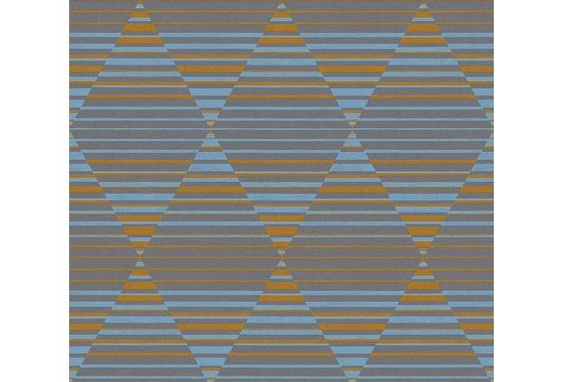 AS Création Vliestapete Linen Style Tapete geometrisch grafisch blau grau orange 367573 10,05 m x 0,53 m