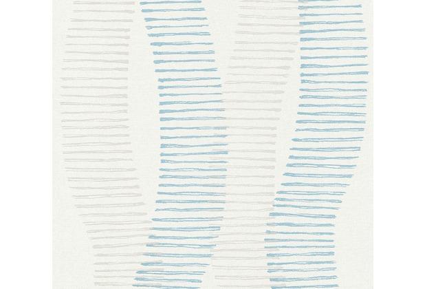 AS Création Vliestapete Linen Style Tapete geometrisch grafisch blau grau weiß 367581 10,05 m x 0,53 m