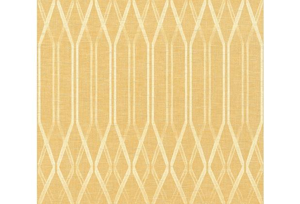 AS Création Vliestapete Linen Style Tapete geometrisch grafisch gelb weiß 366323 10,05 m x 0,53 m