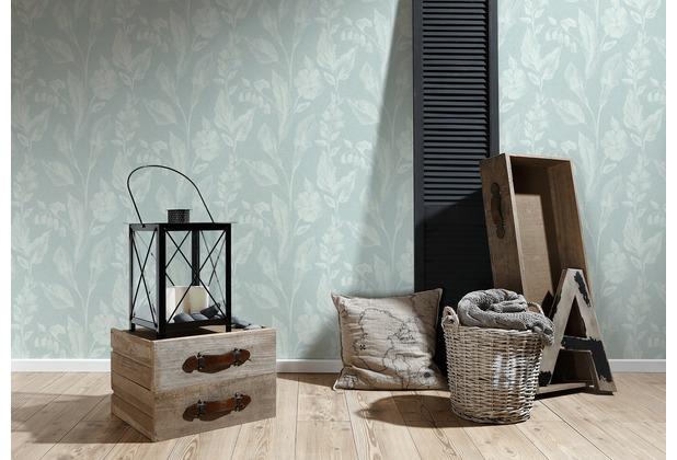 AS Création Vliestapete Linen Style Tapete Mit Blätter