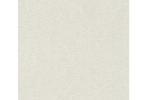 AS Création Vliestapete Linen Style Tapete mit Blätter Muster grau weiß 366331 10,05 m x 0,53 m