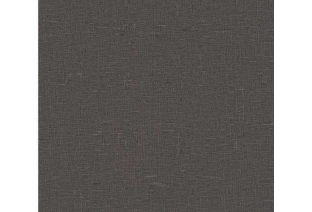 AS Création Vliestapete Linen Style Tapete Uni schwarz 366347 10,05 m x 0,53 m