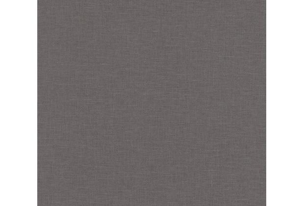 AS Création Vliestapete Linen Style Tapete Uni schwarz 366352 10,05 m x 0,53 m