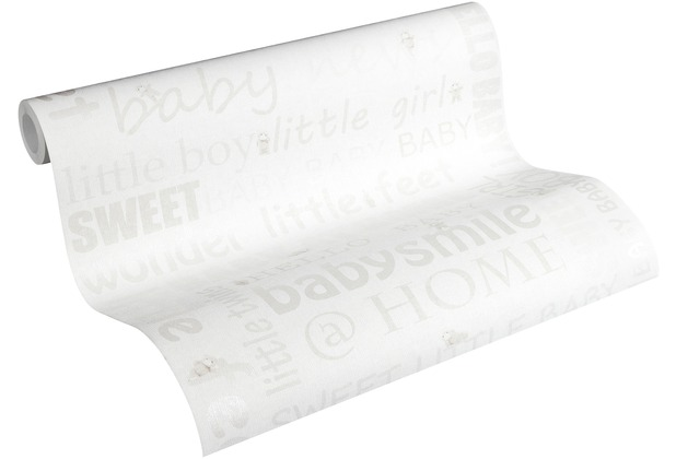 AS Création Vliestapete Little Stars Ökotapete PVC-frei creme metallic weiß 358471 10,05 m x 0,53 m