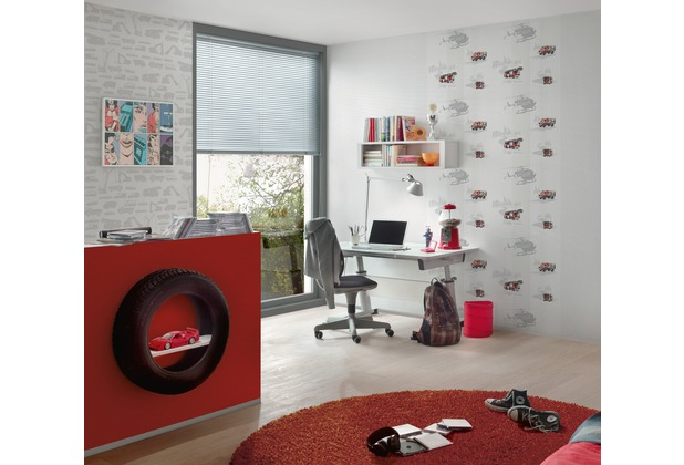 AS Création Vliestapete Little Stars Ökotapete PVC-frei grau rot schwarz 10,05 m x 0,53 m