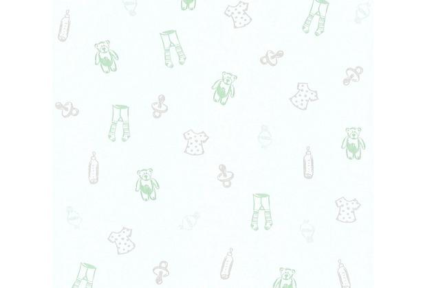 AS Création Vliestapete Little Stars Ökotapete PVC-frei grün metallic weiß 358451 10,05 m x 0,53 m