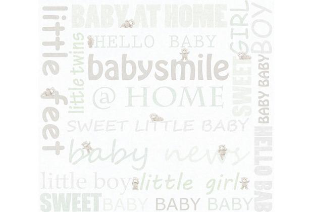 AS Création Vliestapete Little Stars Ökotapete PVC-frei grün metallic weiß 358472 10,05 m x 0,53 m