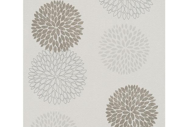 AS Création Vliestapete mit Glitter Blooming floral metallic grau beige 372643 10,05 m x 0,53 m