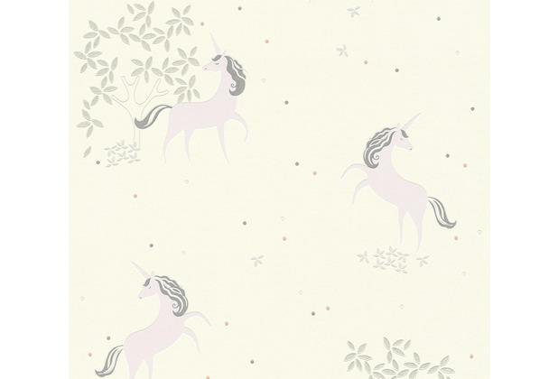 AS Création Vliestapete mit Glitter Boys & Girls 6 Unicorn grau lila weiß 369892 10,05 m x 0,53 m