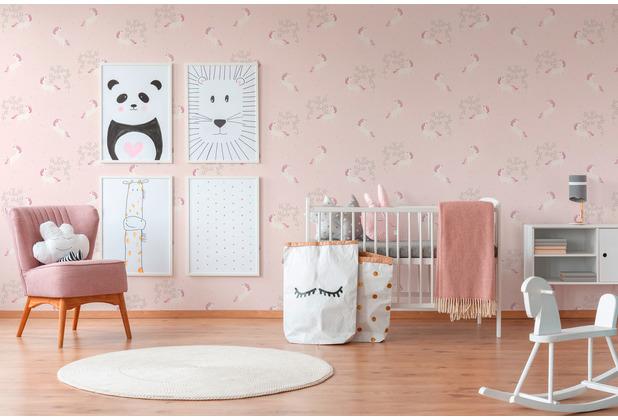 AS Création Vliestapete mit Glitter Boys & Girls 6 Unicorn metallic rosa weiß 369893 10,05 m x 0,53 m
