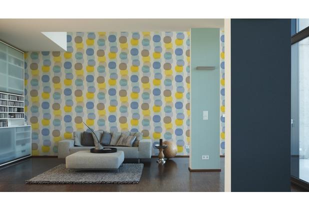 AS Création Vliestapete Pop Colors Tapete blau braun gelb 355901 10,05 m x 0,53 m
