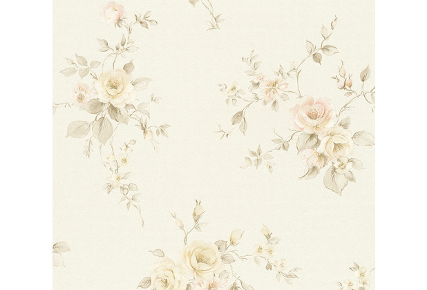 AS Création Vliestapete Romantico Tapete romantisch floral creme braun rosa 372338 10,05 m x 0,53 m