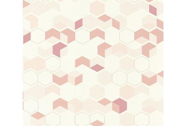 AS Création Vliestapete Scandinavian 2 Tapete in 3D Optik geometrisch rot rosa weiß 366832 10,05 m x 0,53 m