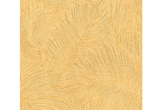 AS Création Vliestapete Sumatra Tapete mit Palmenblättern gelb orange 373711 10,05 m x 0,53 m