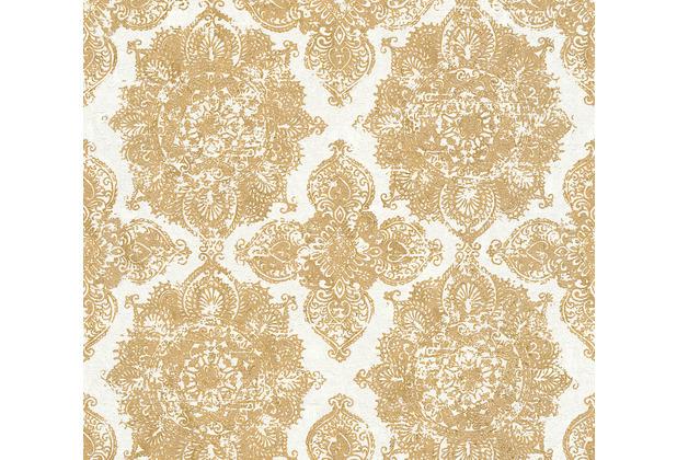 AS Création Vliestapete Trendwall Tapete mit Ornamenten barock metallic weiß 370902 10,05 m x 0,53 m