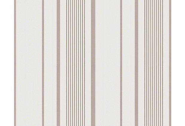 Avenzio Streifentapete, Vliestapete, natürlich, beige, braun, weiss 10,05 m x 0,53 m