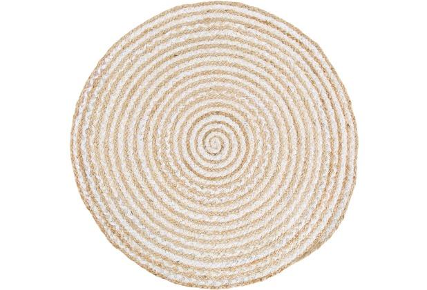Barbara Becker Handwebteppich Misty BB Ethno natur-weiß 80 cm rund