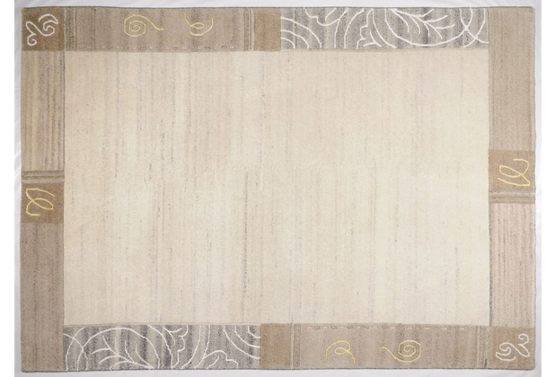 THEKO Nepalteppich Mostar 1033, Bordüre, natural grau 70cm x 140cm