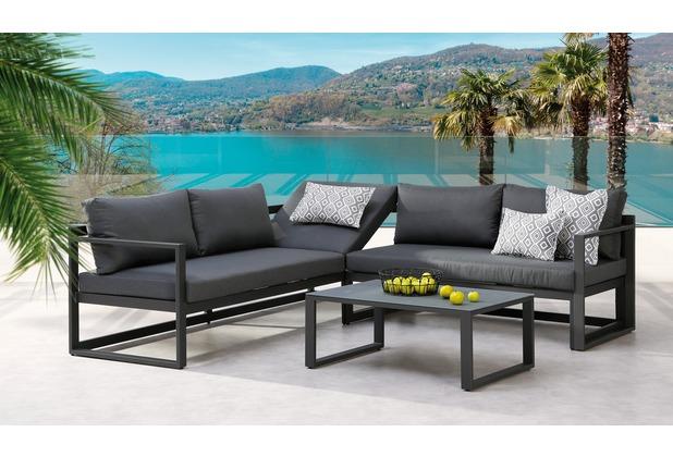 Best 3-tlg. Lounge-Gruppe Rhodos anthrazit/anthrazit Gartenlounge Sitzgruppe
