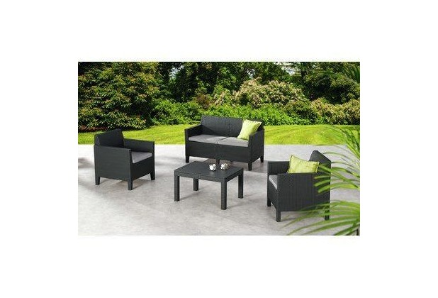 Best 4-tlg. Lounge Gruppe Amalfi klein graphit/hellgrau Sitzgruppe