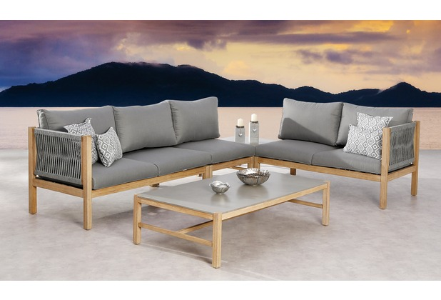 Best 4-tlg. Lounge Gruppe Madagaskar Grandis/grau Gartenlounge Sitzgruppe