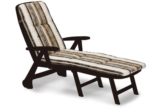 Best Rolliege Charleston braun+PL D.1017 Gartenliege Sonnenliege